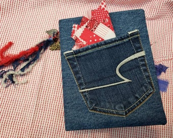 Vintage Junk Journal, Blue Jeans Denim Junk Journal, Boy Themed Red and Blue Scrapbook, Mother and Son Baby Book