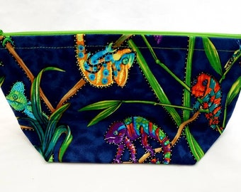 Chameleon Zipper Pouch, Colorful Fabric Lizard Bag, Lined Flat Bottom Tote, For School  Purse Art Sewing, Gift for Him or Her