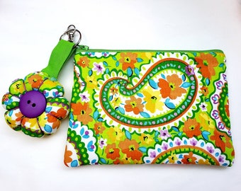 Retro Zip Pouch and Keyring,   Small Paisley Bag and Large Flower Charm, Fabric Keychain and Mini Purse