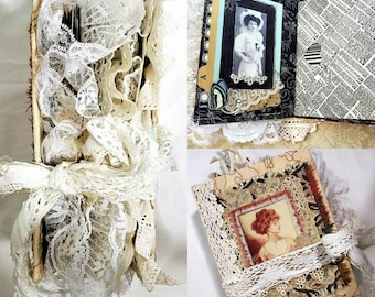 Handmade Shabby Chic Journal, Vintage Lace Junk Journal, Feminine Victorian Album, Lady's Diary, Embellished Keepsake Book, For Her.