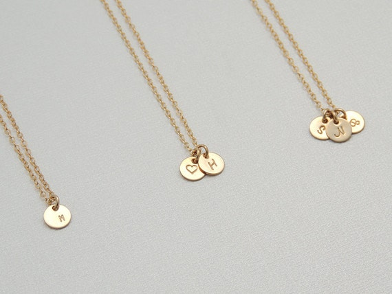 Tiny initial circle necklace personalized gold disk necklace etsy image 0 aloadofball Gallery