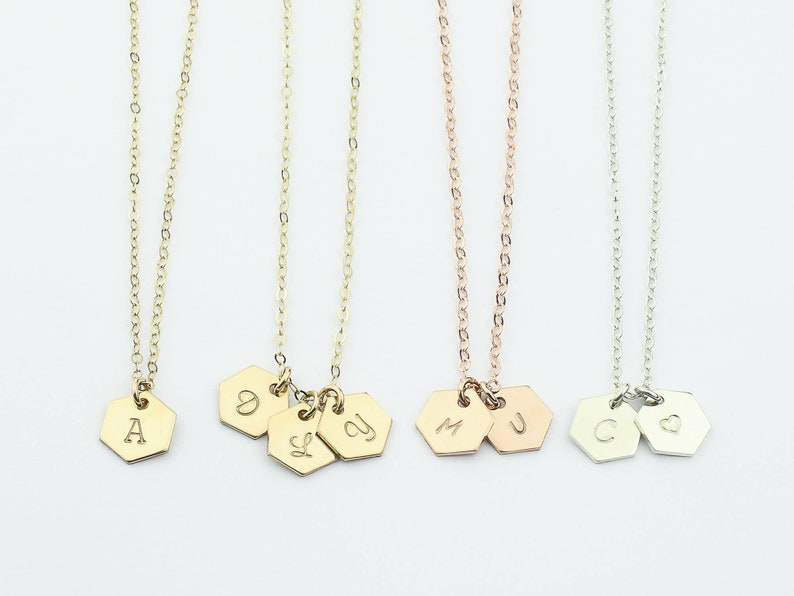 2bce84f204d38 Personalized Hexagon Necklace. Initial Hexagon. Simple Minimal Geometric  Jewelry. Gold, Silver or Rose gold fill Letter Tag. Gift for Her