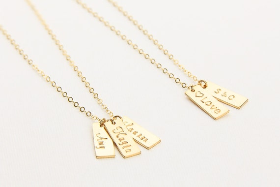 092f0ba71c1c1 Personalized Small Initial Bar Necklace. Name Bar Tag Necklace.  Personalized Vertical Bar Gold Fill, Sterling Silver, Rose Gold. Mom Gift