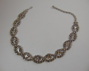 Vintage Clear Rhinestone Ovals with stone in center Choker Necklace