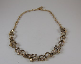 Vintage STAR signed Faux Pearl and Rhinestone Gold tone Choker