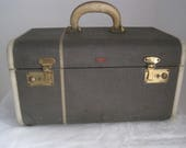 Tweed Train Case American Voyager New York Suitcase Luggage Striped 1940 39 s Green Initials Airplane