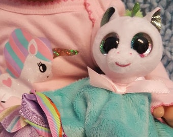 "15 inch baby doll or any size lovey blankie blanket ""Little Bunny Lovey"" security blanket toy F5"