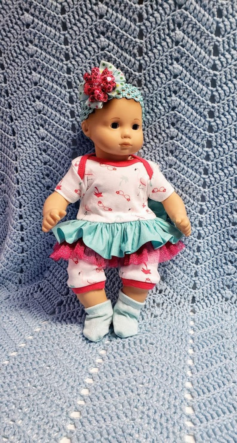 "BITTY TWINS BABY GIRL DOLL 15/"" AMERICAN GIRL EMBROIDERER JACKET PANTS SHOES"
