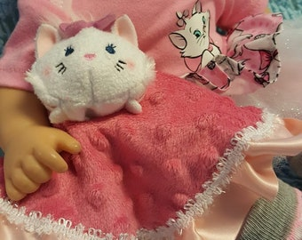 "15 inch baby doll or any size lovey blankie blanket ""Little Kitty Lovey"" security blanket toy J10"