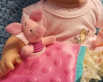"15 inch baby doll or any size lovey blankie blanket ""Little Piglet Lovey"" security blanket toy A9"