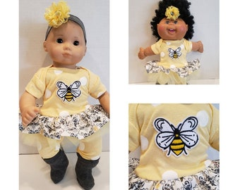 """Will fit Bitty Baby® Baby Alive® Cabbage Patch® 15 inch Baby Doll Clothes """"Bee in Your Bonnet"""" outfit X9"""