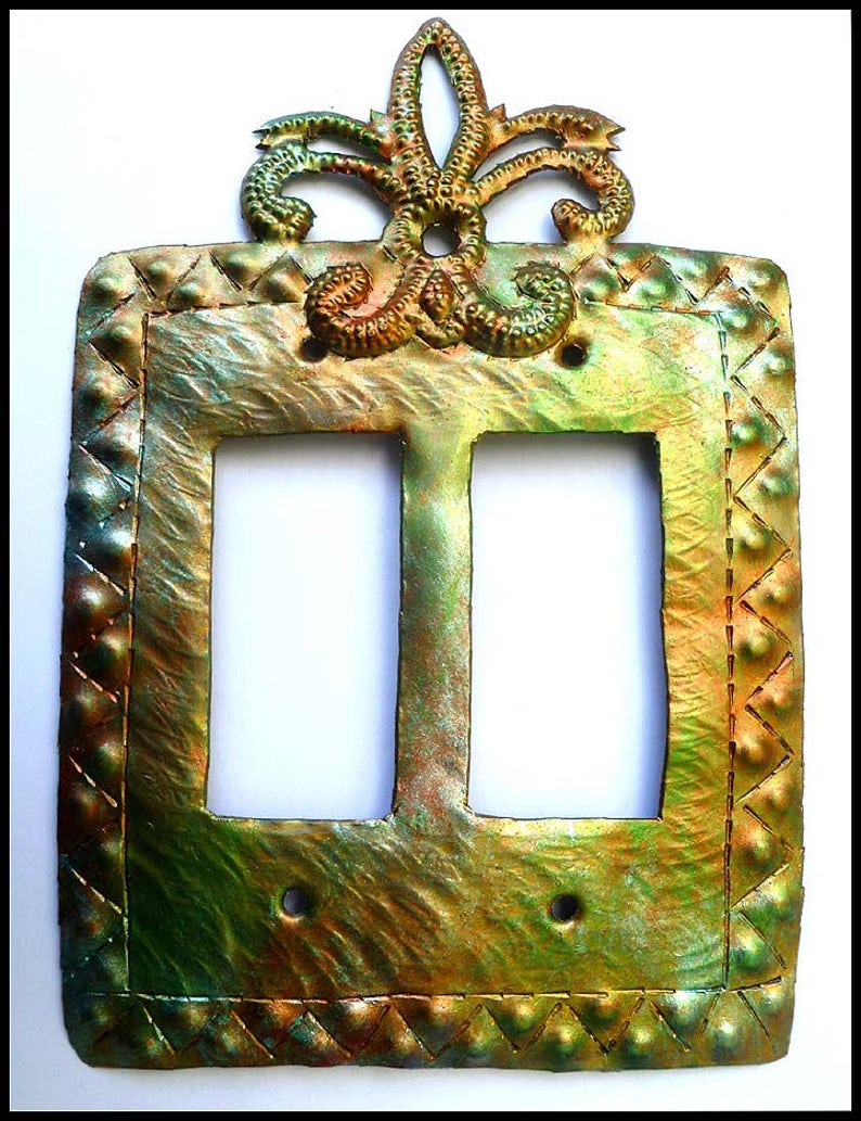 Switch Plate Covers, Rocker Switchplate, Iridescent Metal Switchplate,  Double Light Switch Cover, Haitian Steel Drum, Metal Art, SR-114-2-IR