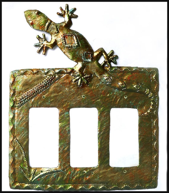 Rocker Switch Plate Cover Gecko Iridescent Metal Etsy
