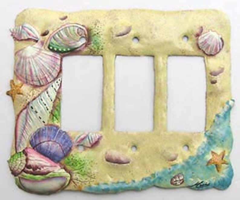 Hand painted metal Light switch plate Shells - Sr-1128-3 Switchplate Sea Shell Design Switchplate Covers ROCKER SWITCHPLATE COVER