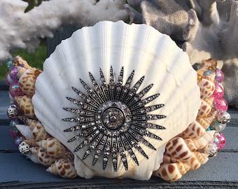 Mermaid Crown, Mermaid Tiara, Siren, Rave, Halloween, Cosplay, Seashell Tiara, Shells, Raver,