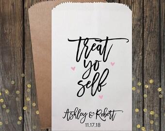 Treat Yo Self, Wedding Favors, Candy Bags, Candy Bar Buffet Bags, Rustic Wedding, Popcorn Bags, Custom Wedding Favors, Candy Bags, Kraft 338