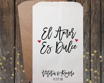El Amor Es Dulce, Wedding Favors, Love is Sweet, Wedding Candy Bags, Candy Bags, Popcorn Bags, Custom Wedding Favors, Candy Bags, Kraft 341