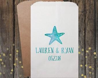Beach Wedding Favors, Nautical Wedding, Watercolor, Candy Buffet Bags, Candy Favor Bags, Personalized Wedding Favor Bags, Treat Bags, 118