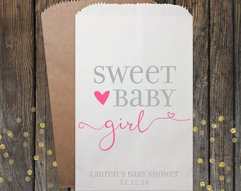 Baby Shower Favors, Girl Baby Shower, Unique Baby Shower Favors, Candy Bar Buffet Bags, Popcorn Bag, Custom Baby Shower Favor, 160 Girl