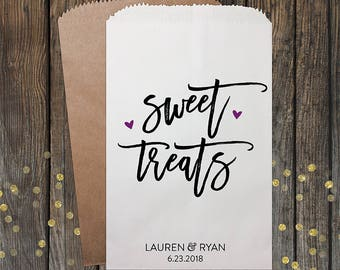 Sweet Treats Wedding Favor Bags, Candy Bags, Wedding Candy Bar Bags, Wedding Favors, Favor Bags, Treat Bags, Custom Favor Bags, Kraft 340