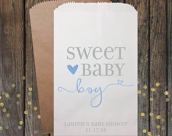 Baby Shower Favors, Boy Baby Shower, Unique Baby Shower Favors, Candy Bar Buffet Bags, Popcorn Bag, Custom Baby Shower Favor, 160 Boy