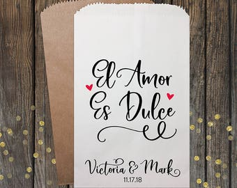 El Amor Es Dulce, Wedding Favors, Love is Sweet, Wedding Candy Bags, Candy Bags, Popcorn Bags, Custom Wedding Favors, Candy Bags, Kraft 333