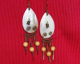 Copper Wire and Wood  Primitive Earrings Vintage Pierced Earrings of Shell