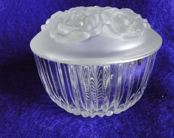Vintage Clear and Frosted Glass Vanity Bowl with Roses