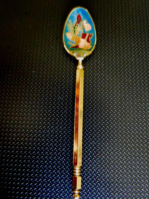 Vintage Russian Spoon Enameled Bird Spoon With Gold Plate Etsy