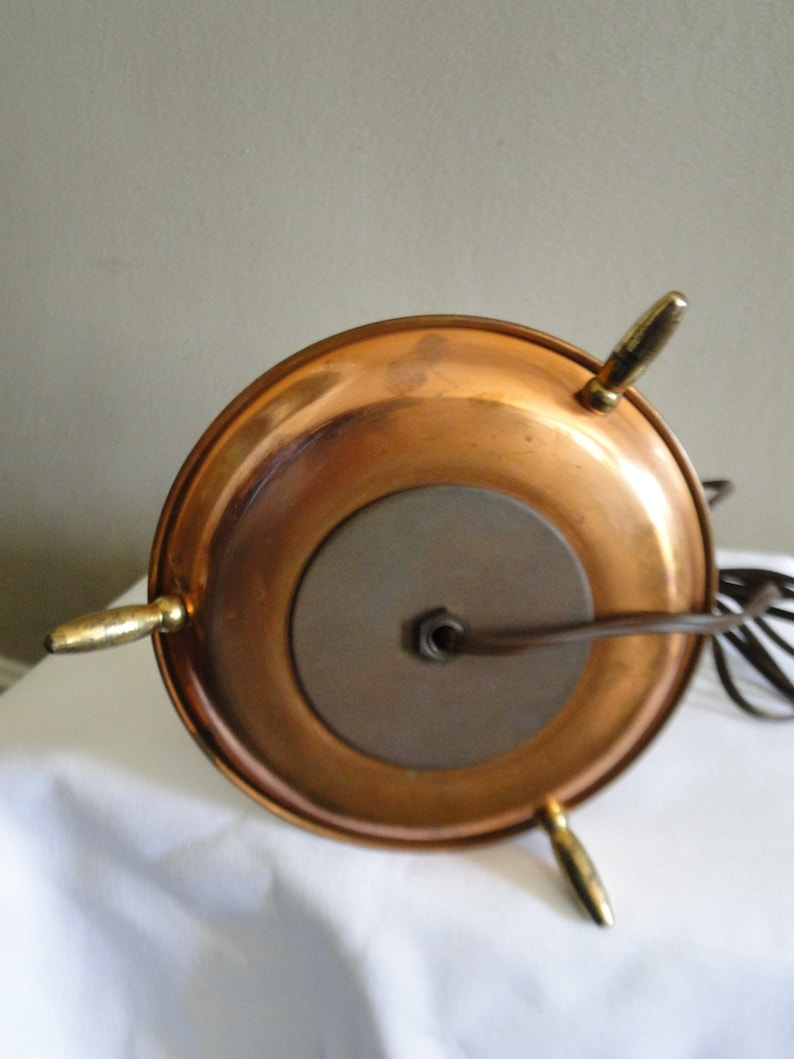 Electric Hurricane Lamp with Copper Tray Bottom and Brass Legs  Vintage Lamp