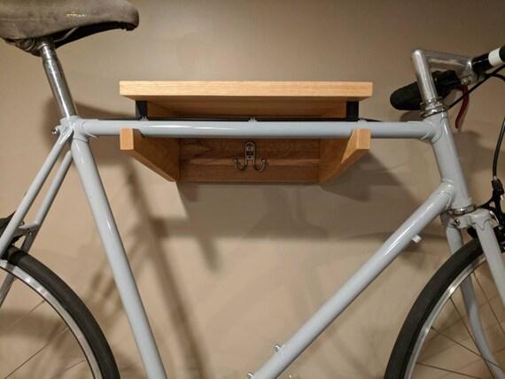 wand montiert fahrrad regal mit haken h ngen etsy. Black Bedroom Furniture Sets. Home Design Ideas