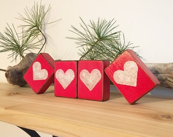 Love Valentines Day Rustic Distressed Wood Block Sign Heart Home Decor Mothers Gift Shelf Sitter Mantle Set