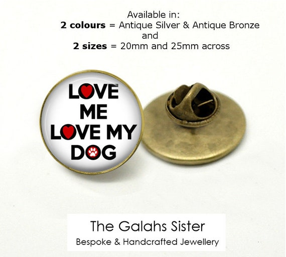 Small 25mm Lapel Pin Button Badge Novelty I Heart Love Dogs Pets