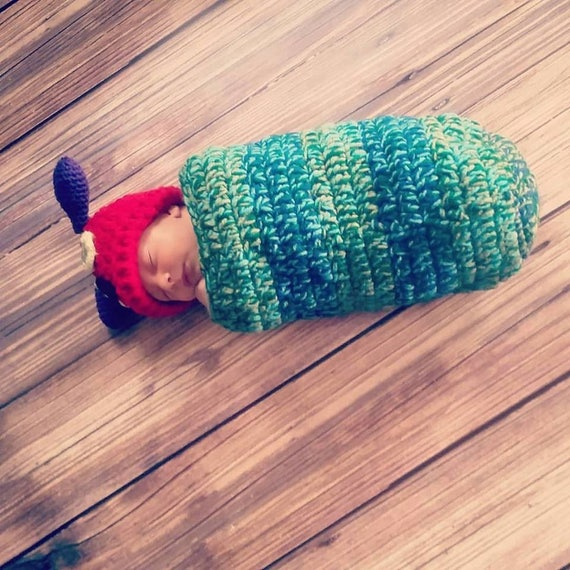 7947431ab Crochet Caterpillar Outfit / Photo Prop, Perfect for Baby's First Pictures  or Halloween