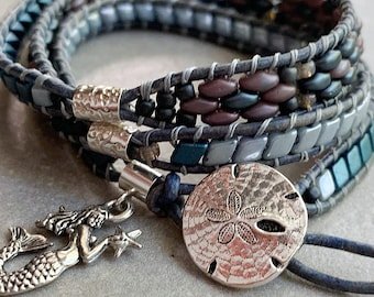 3 Wrap Leather Bracelet with handwoven Blue, Gray, Ashen Gray Duos separated by Sterling Tubes with Mermaid Charm & Silver Dollar Button
