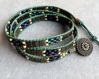 3 Wrap Bracelet Leather Bracelet with Handwoven Super Duos, Tilas, and Seed Beads in contrasting colors on Green Cord with Brass Details