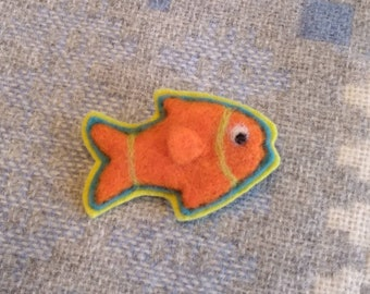Fun And Funky Fish Pin Hand Needle-Felted Wool Wearable Art
