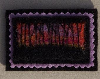 Winter Sunset Hand Felted Brooch Landscape in Wool Wearable Art