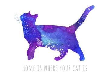 "Inspirational Print ""Home is where your cat is"", inspirational Quote"", Inspirational Art, Typography Print, Wall Art 8,5"" x 11"""