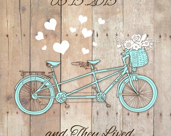 Printable Tandem Bike Wedding Print, Personalized Engagement gift