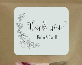 Thank You Stamp Wreath Custom Wedding Stampcustom Gift FAVOR Calligraphy Favors