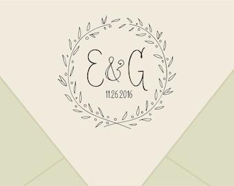 Custom wedding monogram stamp ,-wreath  Save The Date Stamp- Retro Wedding Stamp - Save the Date custom Rubber Stamp-custom stamps