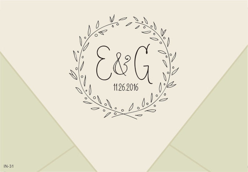 Custom Wedding Monogram Stamp Wreath Save The Date