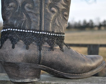 Black Lace Formal Boot-let// Cowboy Boot Charm