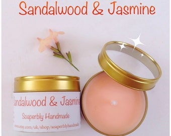 Sandalwood and Jasmine soy wax candle in a tin