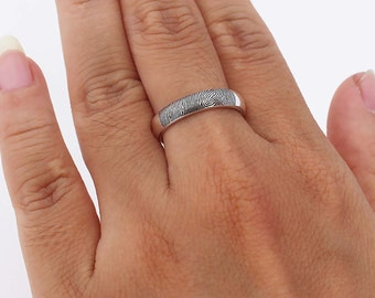 SALE 20% OFF - Your Actual Fingerprint Ring - Fingerprint Ring - Actual Signature Ring - Memorial Jewelry - Wedding Rings For Him & Her