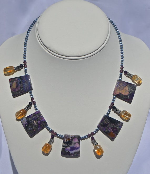 "16"" Purple Copper Godess Necklace"