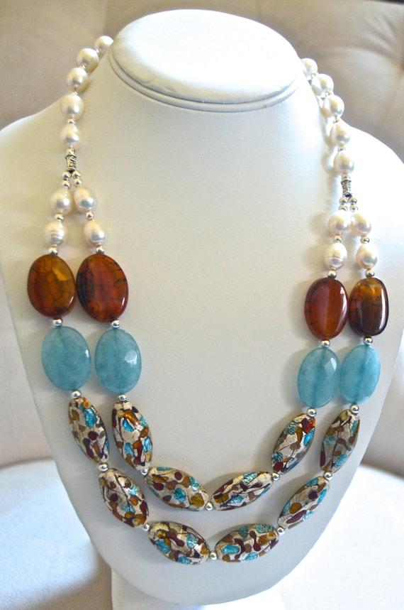 Multi-Strand Aquamarine and Pearl Necklace