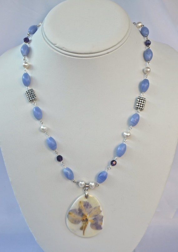 """19"""" Blue Lace Agate Necklace with Flower Pendant"""