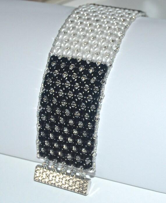 Black and White Elegant Cuff Bracelet